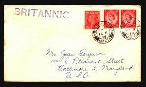 Malta 1958 Britannic Paquebot Cover / UK Postage - Z16635