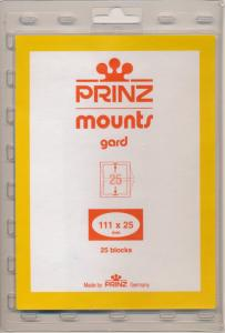 Prinz Scott Stamp Mounts Size 111 x 25 CLEAR Background  Pack of 25
