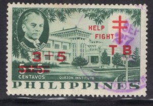 PHILIPPINES SC# B12 USED 1959  3c+5on 5c+5c  HELP  FIGHT TB SEE SCAN