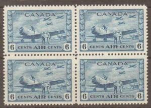CANADA SG399 1942 6c BLUE MNH BLOCK OF 4