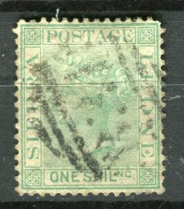 SIERRA LEONE; 1872 early classic QV Crown CC issue fine used 1s. value