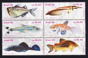 Brazil MNH Block 1234-9 Freshwater Fish 1988