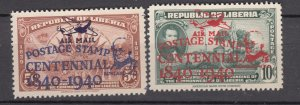 J27502 1941 liberia hv,s of set mh #c15-6 airplane ovpt,s