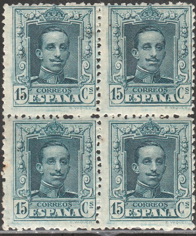 SPAIN 336, 15cs BLOCK OF 4, MINT/UNUSED. F-VF. (225)