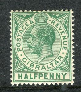 GIBRALTAR; 1912 early GV issue fine Mint hinged Shade of 1/2d. value