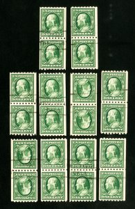 US Stamps # 390 VF 10 used pairs w/ many choice Scott Value $450.00