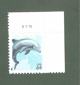 4388 Dolphin Single W/ Plate Number Mint/nh (Free shipping offer)