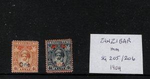 Zanzibar mounted mint 1904 opts.