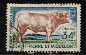 ST PIERRE & MIQUELON Scott # 373 Used 2 - Charolais Bull