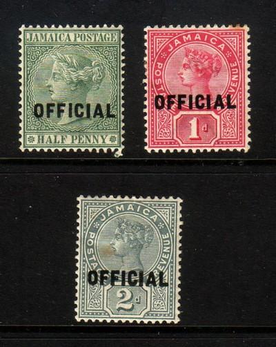 Jamaica Sc O2-4 1890-1 overprinted Official stamp set mint