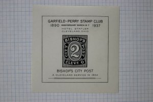 Garfield Perry stamp club 1937 Bishop's city local post Cleveland OH ad label