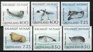 Greenland 1991, Seals set VF MNH, Mi 211-216 cat 13€