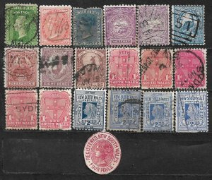 COLLECTION LOT OF 19 NEW SOUTH WALES 1860+ STAMPS CLEARANCE CV + $45