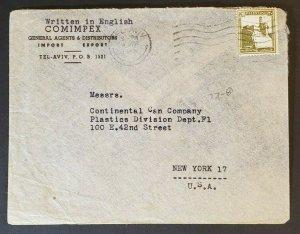 1945 Tel Aviv Palestine to New York USA Comimpex Distributors Advertising Cover