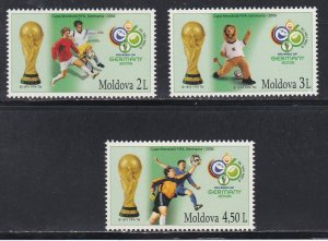 Moldova # 526-528, World Cup Soccer, NH, 1/2 Cat.