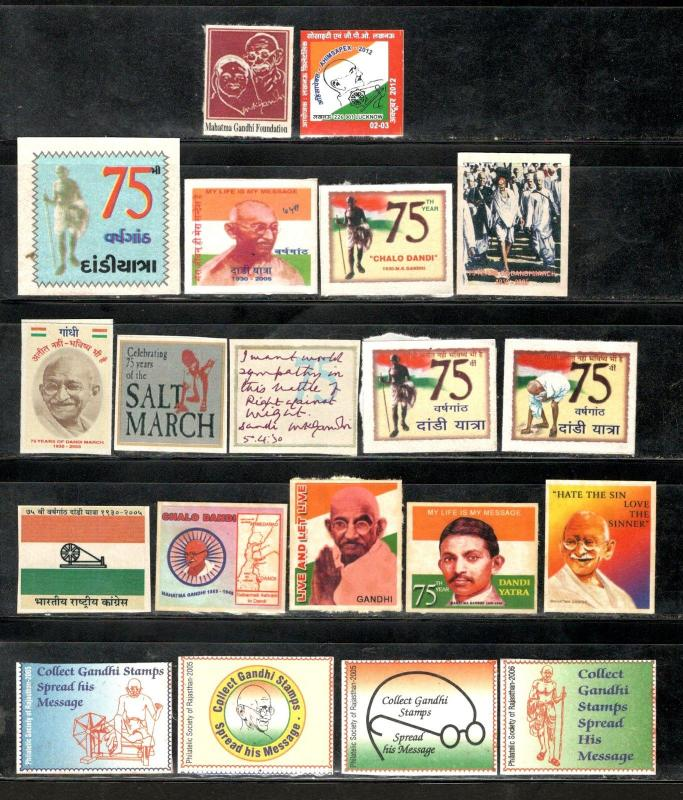 INDIA 20 DIFFRENT Mahatma GANDHI'S DANDI MARCH Self-adhesive LABLE