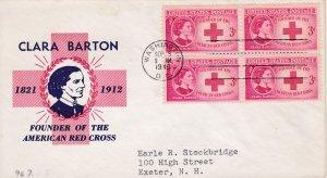 #967, 3c Clara Barton, Fidelity cachet, block of 4