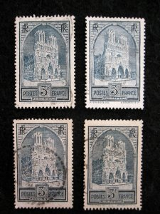 FRANCE - SCOTT# 247,247A,247B,248 - USED - CAT VAL $32.30