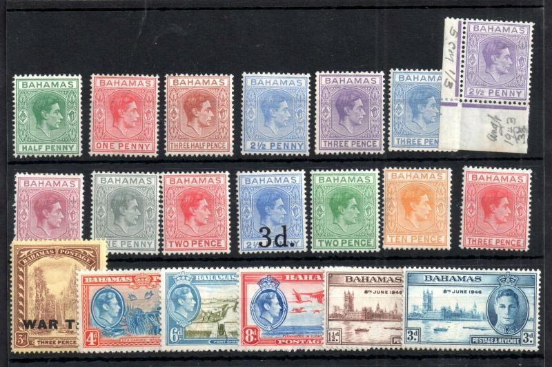 Bahamas KGVI 1938-46 mint MH collection WS12729