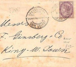 CB205 1900 GB USED CAPE COLONY British Army S.Africa FPO BOER WAR 1d LilacCover