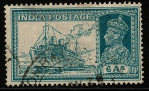 INDIA SG256 1937 6a TURQUOISE-GREEN USED
