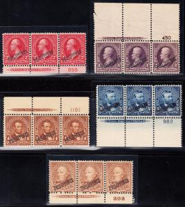 PHILS #214 // 220 STRIPS/3 PLATE # W/ IMPRINT (5) DIFF F-VF // VF OG NH BT5777