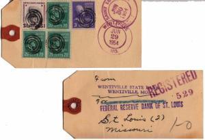 United States Prexies 1954 3c Jefferson, 20c Garfield (3) and $1.00 Wilson Pr...