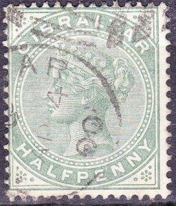 GIBRALTAR 1887 QV 1/2d Dull Green SG8 Used