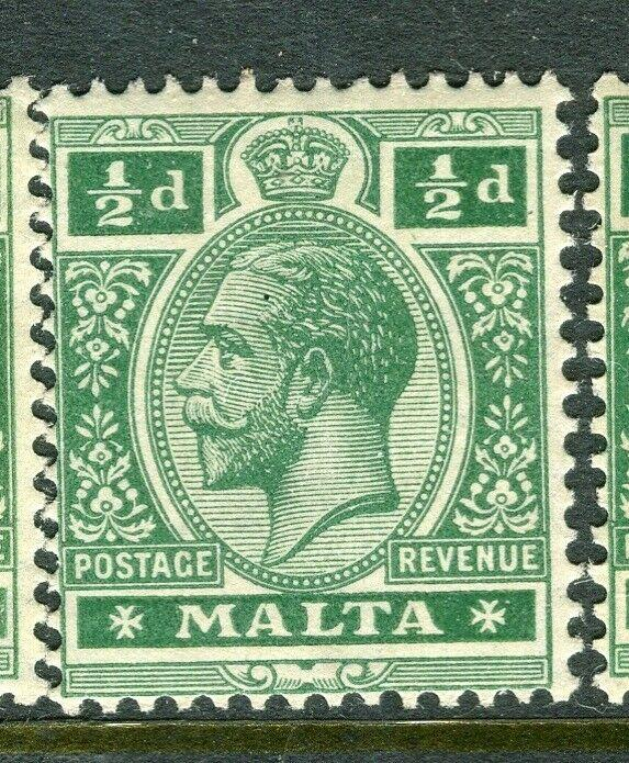 MALTA; 1914-21 early GV issue fine Mint hinged shade of 1/2d. value