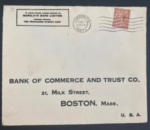 1927 London England Commercial Cover To Bank Of commerce Boston MA Usa