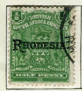 RHODESIA; 1909 early ' RHODESIA ' optd issue fine used 1/2d. value