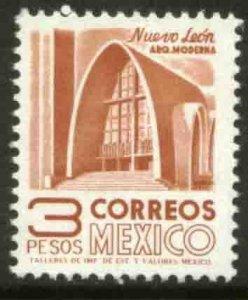 MEXICO 1097, $3P 1950 Defin 9th Issue Unwmkd Fosfo Glazed. MINT, NH. VF.