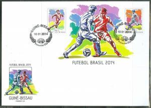 GUINEA BISSAU  2014 BRAZIL WORLD CUP SOCCER  SOUVENIR SHEET FIRST DAY COVER