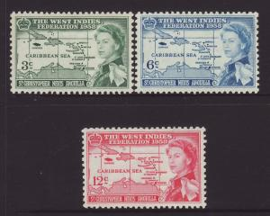 1958 St Kitts Federation Set Mounted Mint SG120/122