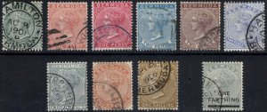Bermuda 1883 1/2d-1s + 1/4d + Shades SG 21-30 Scott 18-26 VFU Cat £90($121)