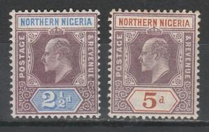 NORTHERN NIGERIA 1905 KEVII 21/2D AND 5D WMK MULTI CROWN CA