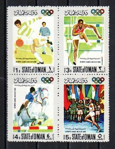 Oman State, 1968 Local issue. Olympics & Scouts w/Flags, 4 values only. ^