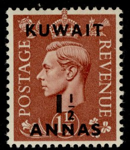 KUWAIT GVI SG66, 1½a on 1½d pale brown, M MINT.
