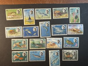 BR.INDIAN OCEAN TERRITORY # 16-33--MINT NEVER/HINGED----COMPLETE SET----1968-73