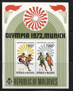 MALDIVE ISLANDS, 411, MNH, S.S OF 2, OLYMPIC GAMES '72