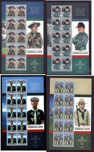 Gibraltar-Sc#1080-3-four unused NH sheets-Scouts-Europa-2007-