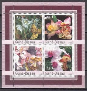 Guinea Bissau, Mi cat. 2087-2090 A. Orchids & Mushrooms sheet.