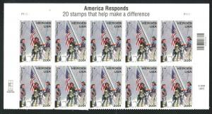Sc# B2 - 2001 Semi-Postal Stamps - 45¢ Heroes of Top Banner Plate Block