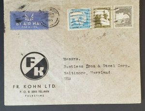 1945 Palestine to Baltimore Maryland FR Kohn Steel Co Advertising Air Mail Cover