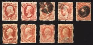O83-O92 ex O87 1c-30c Rose War Dept 1873 Official Mostly Used Lot 9 items