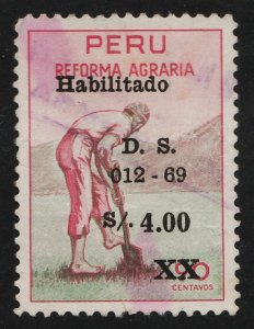 Peru 1969 Agrarian Reform Law 90c+4s (1/3) USED