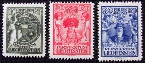 LIECHTENSTEIN Sc#B11-B13 SEM-POSTALS SET (1932) MH