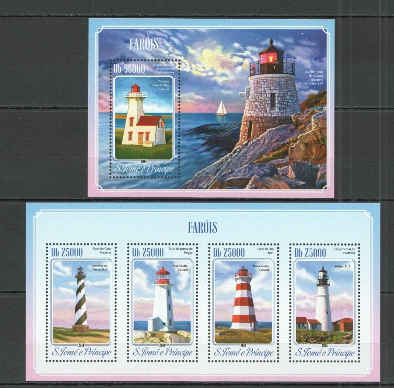 ST1701 2014 S. TOME & PRINCIPE ARCHITECTURE LIGHTHOUSES KB+BL MNH STAMPS