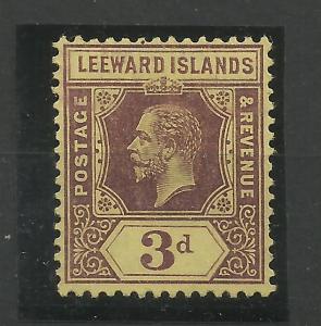 Leeward Is, 1912 Sg 51B, 3d Purple on Lemon, Lightly Mounted Mint {C/W 340}.