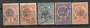 KINGDOM SERBIA FISCAL REVENUE TAX STAMPS 1880s